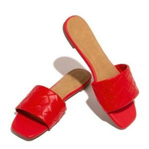 Woven Strap Slide Sandals in Red